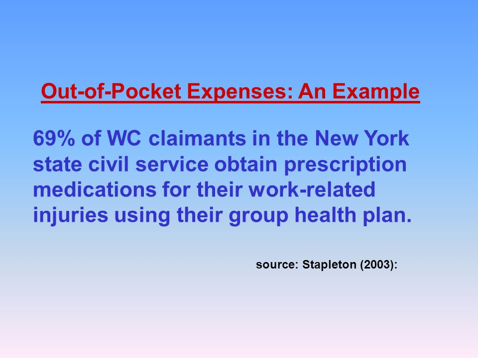 69% of WC claimants in the New York state civil service obtain prescription medications for their work-related injuries using their group health plan.