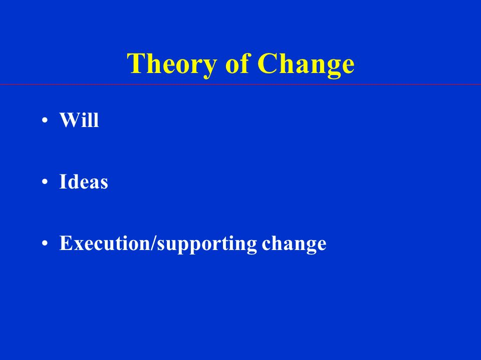 Theory of Change Will Ideas Execution/supporting change