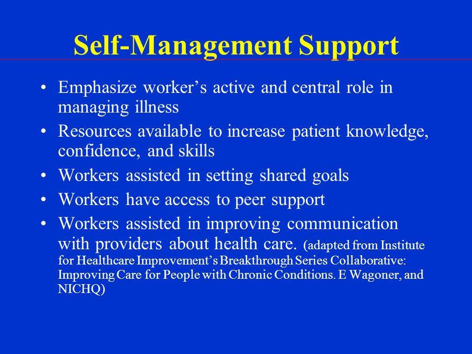 Self-Management Support Emphasize workers active and central role in managing illness Resources available to increase patient knowledge, confidence, and skills Workers assisted in setting shared goals Workers have access to peer support Workers assisted in improving communication with providers about health care.