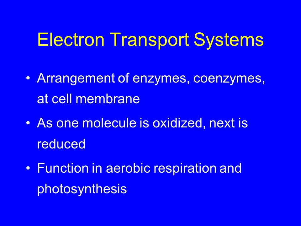 Electron Transport Systems Arrangement of enzymes, coenzymes, at cell membrane As one molecule is oxidized, next is reduced Function in aerobic respir