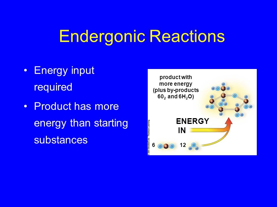 Exergonic Reactions Energy is released Products have less energy than starting substance ENERGY OUT energy-rich starting substance + 60 2 products with less energy 66