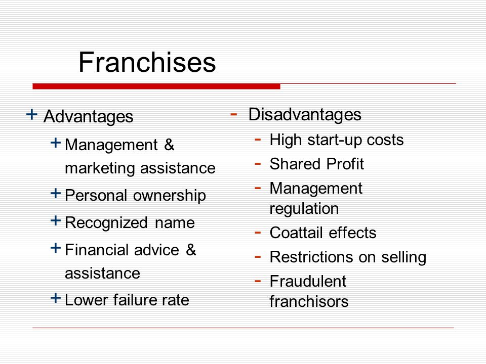 Franchises + Advantages + Management & marketing assistance + Personal ownership + Recognized name + Financial advice & assistance + Lower failure rate - Disadvantages - High start-up costs - Shared Profit - Management regulation - Coattail effects - Restrictions on selling - Fraudulent franchisors
