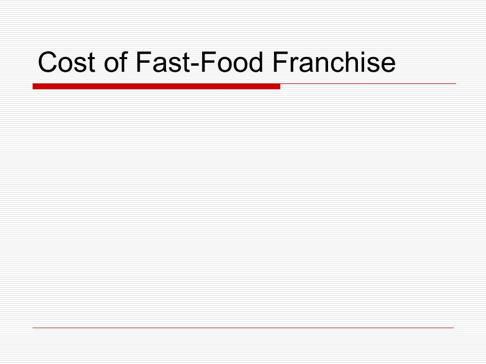 Cost of Fast-Food Franchise