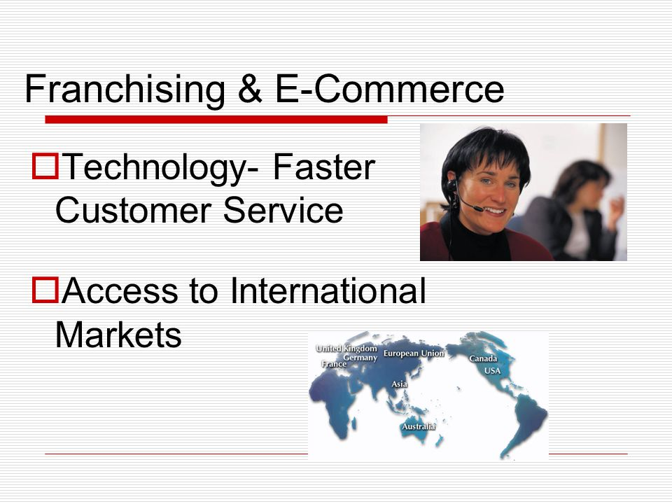 Franchising & E-Commerce Technology- Faster Customer Service Access to International Markets
