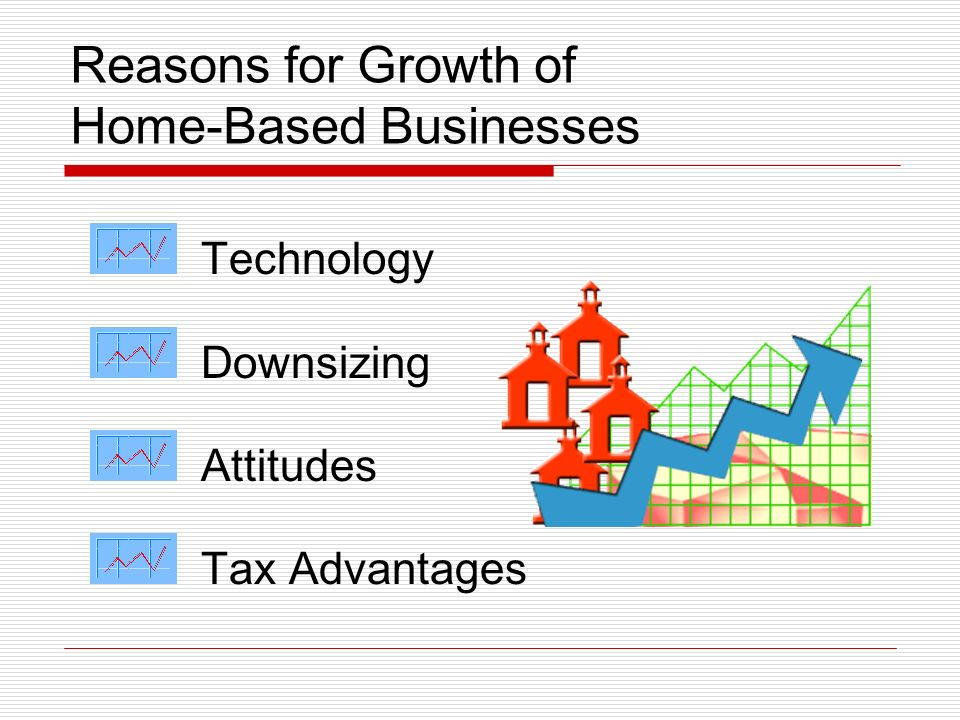 Reasons for Growth of Home-Based Businesses Technology Downsizing Attitudes Tax Advantages