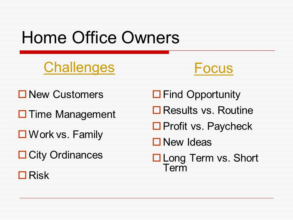 Home Office Owners Challenges New Customers Time Management Work vs.