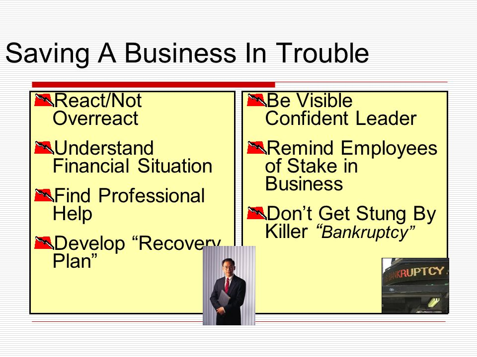 Saving A Business In Trouble React/Not Overreact Understand Financial Situation Find Professional Help Develop Recovery Plan Be Visible Confident Leader Remind Employees of Stake in Business Dont Get Stung By Killer Bankruptcy