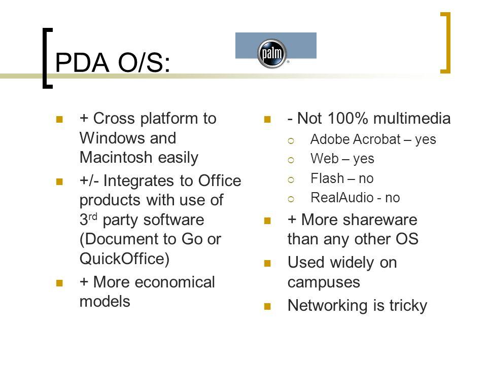 PDA O/S: Previously PocketPC and WindowsCE Combines WindowsMobile TabletPC Like duh…Microsoft!!.