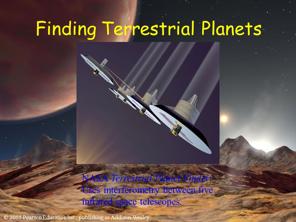 © 2005 Pearson Education Inc., publishing as Addison-Wesley Finding Terrestrial Planets NASA Terrestrial Planet Finder: Uses interferometry between five infrared space telescopes.
