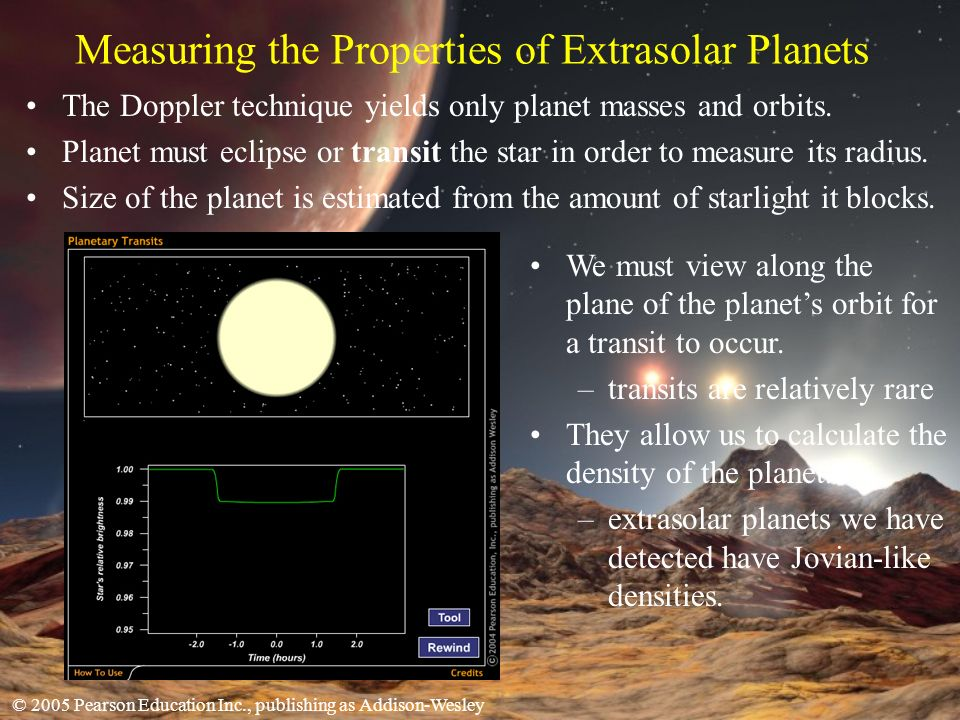 © 2005 Pearson Education Inc., publishing as Addison-Wesley Measuring the Properties of Extrasolar Planets The Doppler technique yields only planet masses and orbits.