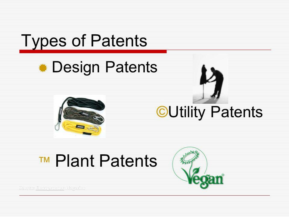 Types of Patents ® Design Patents ©Utility Patents Plant Patents Source: Entrepreneur Magazine