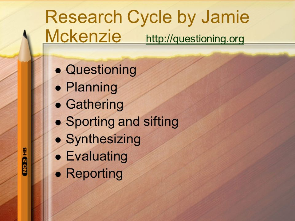 Research Cycle by Jamie Mckenzie http://questioning.org http://questioning.org Questioning Planning Gathering Sporting and sifting Synthesizing Evalua