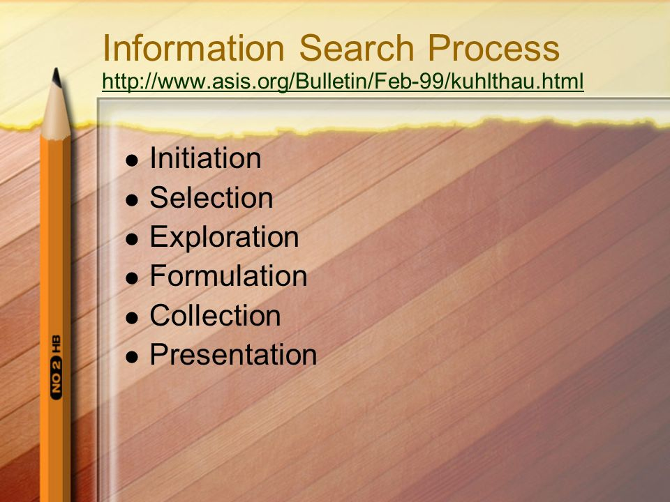 Information Search Process http://www.asis.org/Bulletin/Feb-99/kuhlthau.html http://www.asis.org/Bulletin/Feb-99/kuhlthau.html Initiation Selection Ex