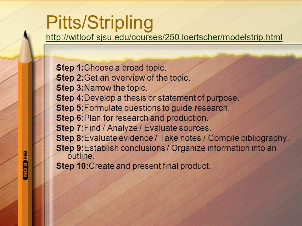 Pitts/Stripling http://witloof.sjsu.edu/courses/250.loertscher/modelstrip.html http://witloof.sjsu.edu/courses/250.loertscher/modelstrip.html Step 1:Choose a broad topic.