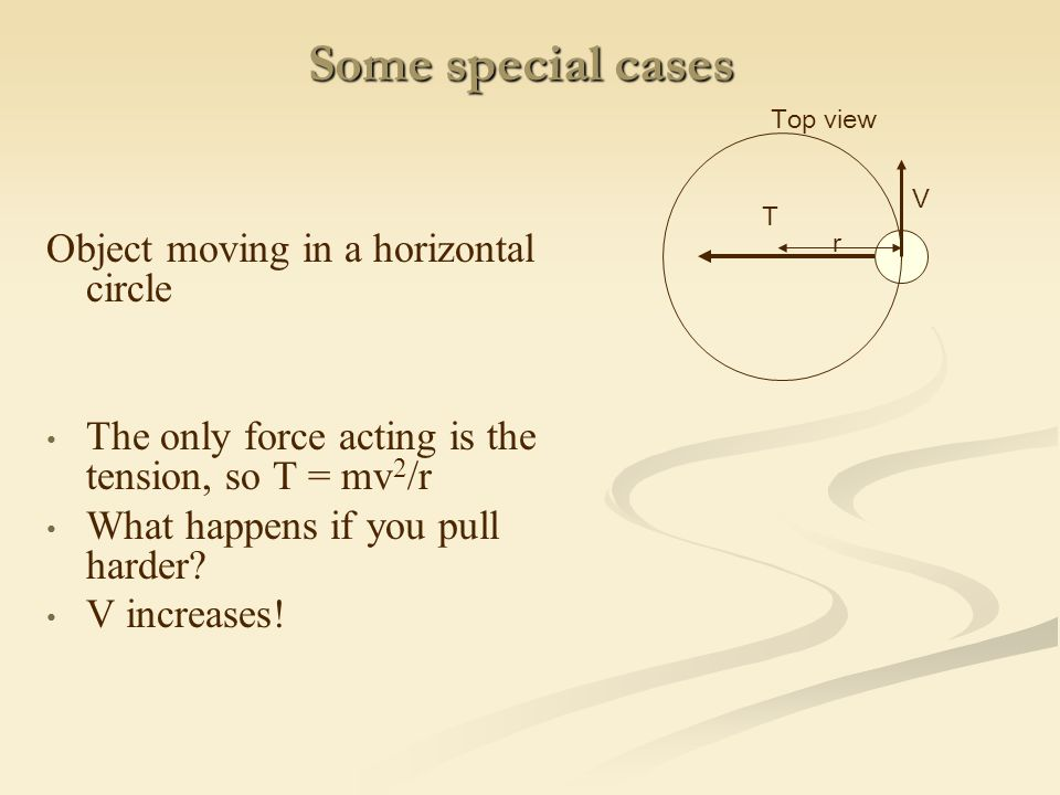 Some special cases Object moving in a horizontal circle The only force acting is the tension, so T = mv 2 /r What happens if you pull harder.