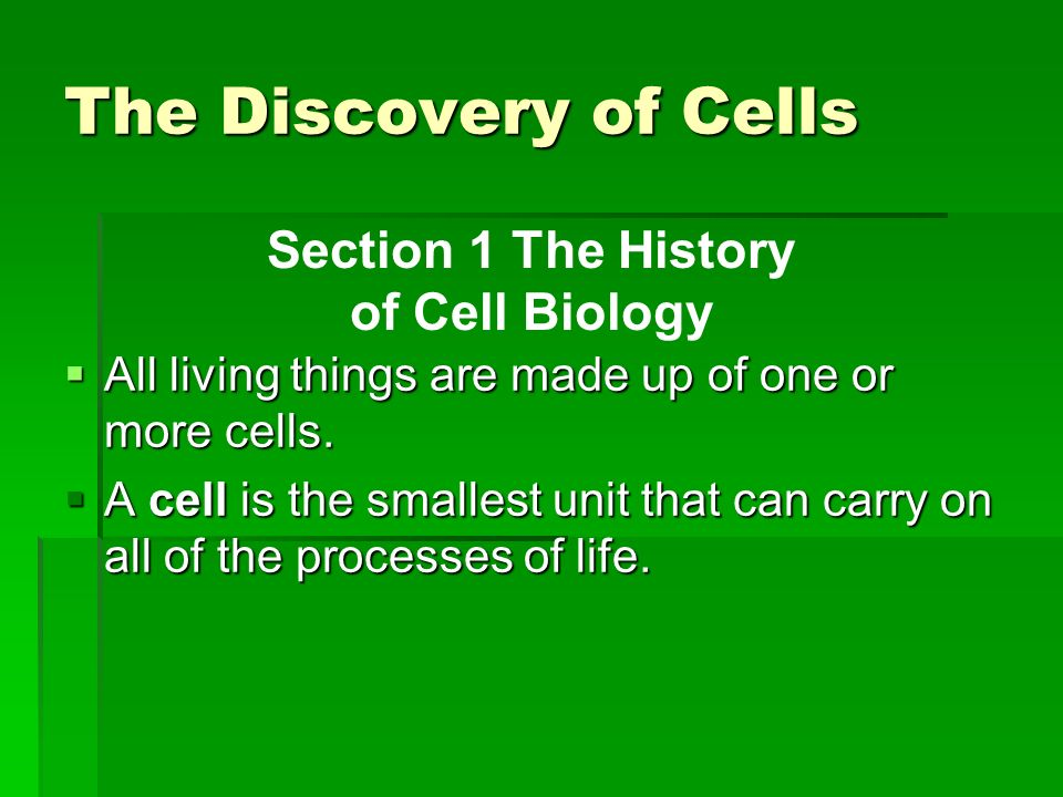 The Discovery of Cells All living things are made up of one or more cells. All living things are made up of one or more cells. A cell is the smallest