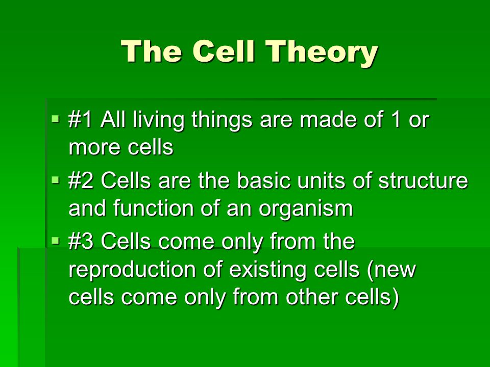 The Cell Theory #1 All living things are made of 1 or more cells #1 All living things are made of 1 or more cells #2 Cells are the basic units of stru