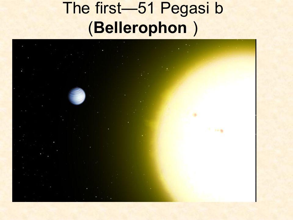 51 Pegasi B Star51 Pegasi ConstellationPegasus DistanceDistance50.9 ± 0.3 ly (15.61 ± 0.09 pc)lypc Spectral typeSpectral typeG2.5IVa or G4- 5Va MassMass(m)1.06 x Mass of Sun RadiusRadius(r)1.237 ± 0.047 Rsun TemperatureTemperature(T)5571 ± 102 KK MetallicityMetallicity[Fe/H]0.20 ± 0.0 AgeAge6.1-8.1 GyrGyr Semimajor axis(a)(a) 0.0527 ± 0.0030 AU (7.89 Gm)AUGm Periastron(q)(q) 0.0520 AU (7.79 Gm)AUGm Apastron(Q)(Q) 0.0534 AU (7.99 Gm)AUGm Eccentricity(e)(e)0.013 ± 0.012 Orbital period(P)(P)4.230785 ± 0.000036 dd (101.5388 h)h Argument of periastron (ω)(ω)58° Time of periastronperiastron(T0)(T0)2,450,001.51 ± 0.61 JDJD Semi-amplitudeamplitude(K)(K)55.94 ± 0.69 m/sm/s Physical characteristics Minimum mass(m sin i) 0.472 ± 0.039 M J (150 M )M JM The planet The star