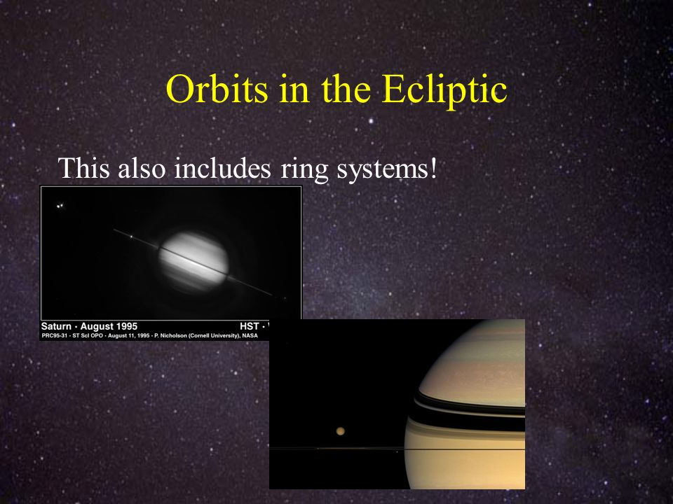 Orbits in the Ecliptic This also includes ring systems!
