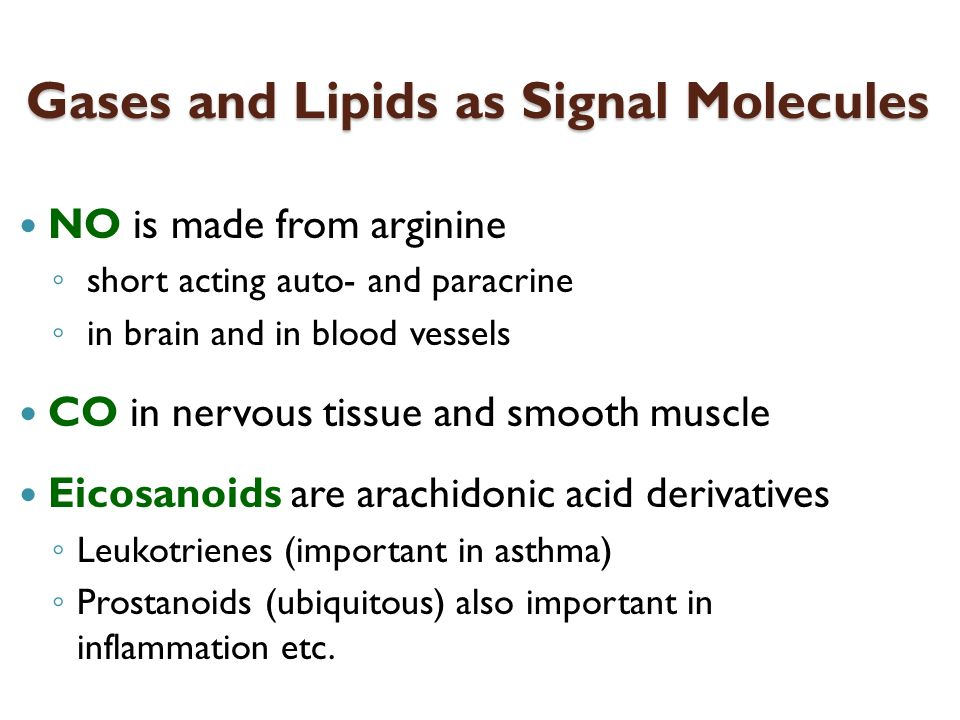 Gases and Lipids as Signal Molecules NO is made from arginine short acting auto- and paracrine in brain and in blood vessels CO in nervous tissue and