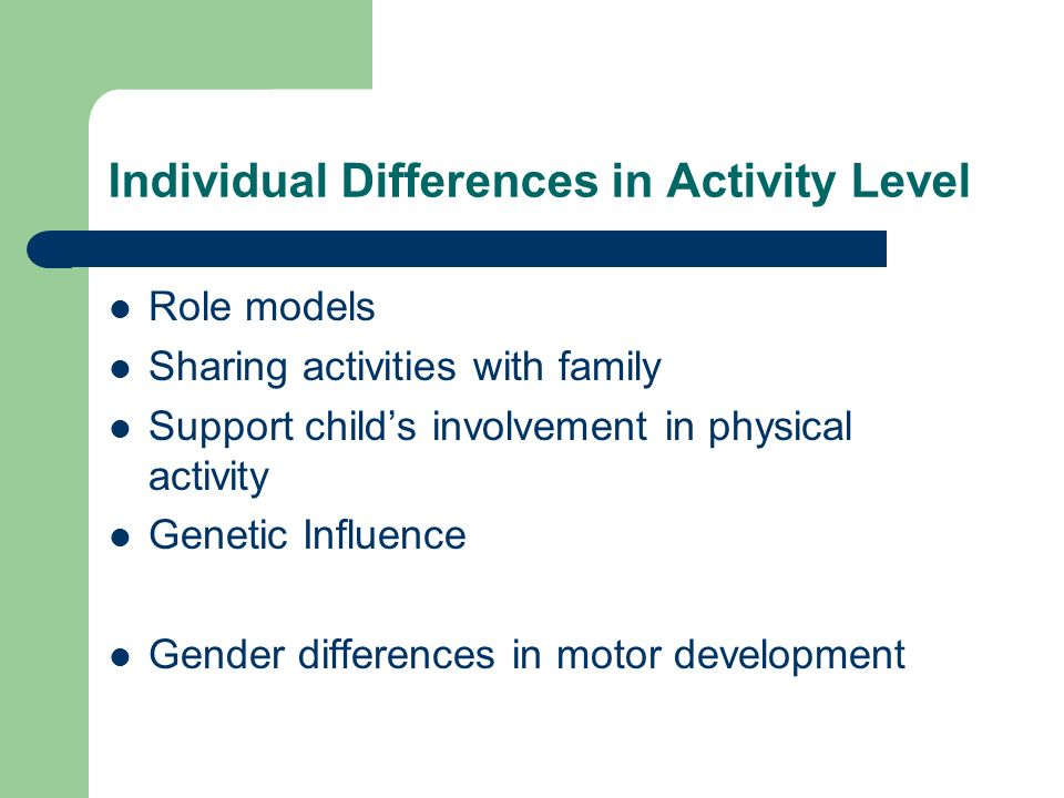 Individual Differences in Activity Level Role models Sharing activities with family Support childs involvement in physical activity Genetic Influence