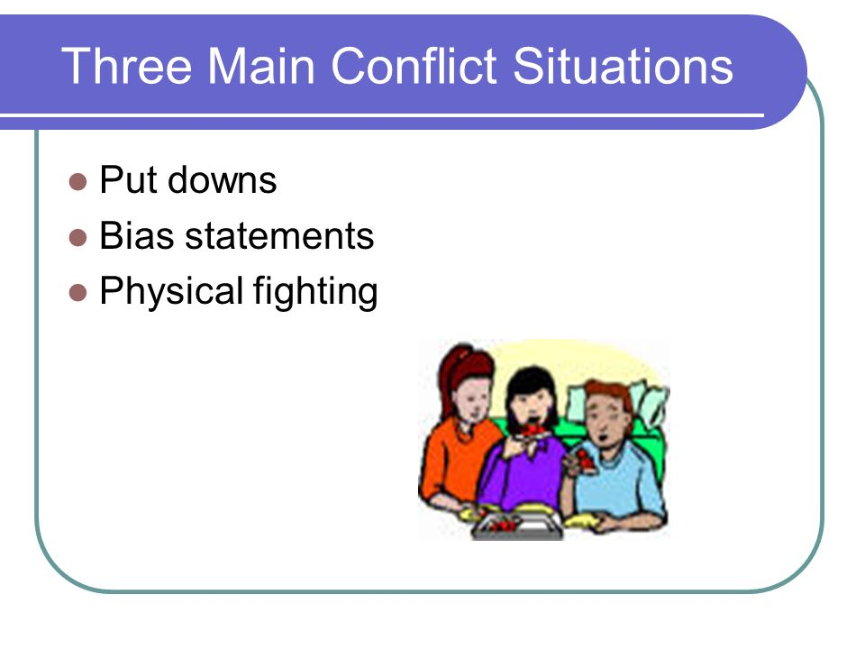 Three Main Conflict Situations Put downs Bias statements Physical fighting