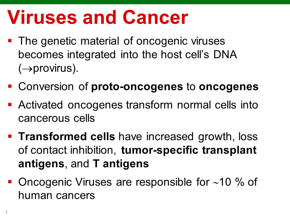 Copyright © 2010 Pearson Education, Inc. Viruses and Cancer The genetic material of oncogenic viruses becomes integrated into the host cells DNA ( pro