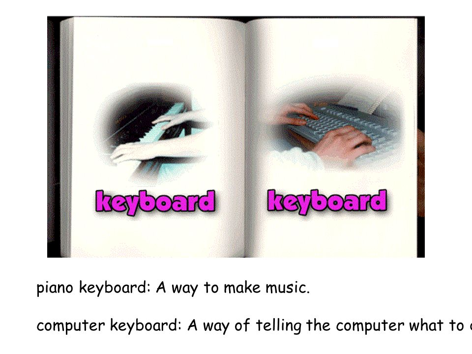 piano keyboard: A way to make music. computer keyboard: A way of telling the computer what to do.