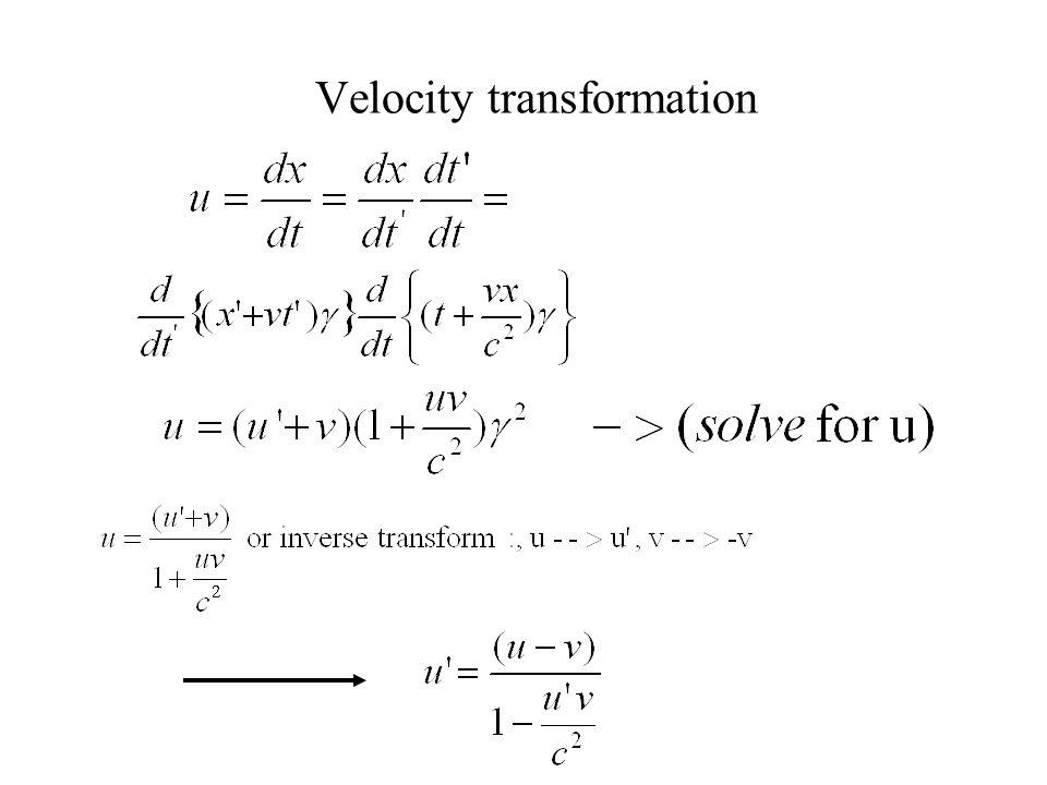Velocity transformation