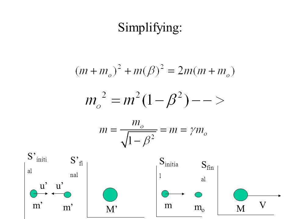 Simplifying: S fi nal S initi al m m M uu V S fin al S initia l m momo M
