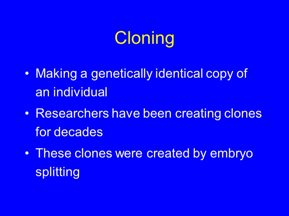 Cloning Making a genetically identical copy of an individual Researchers have been creating clones for decades These clones were created by embryo spl