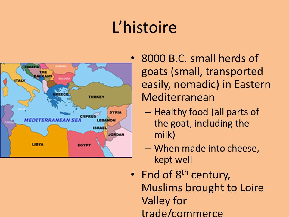 Lhistoire 8000 B.C. small herds of goats (small, transported easily, nomadic) in Eastern Mediterranean – Healthy food (all parts of the goat, includin