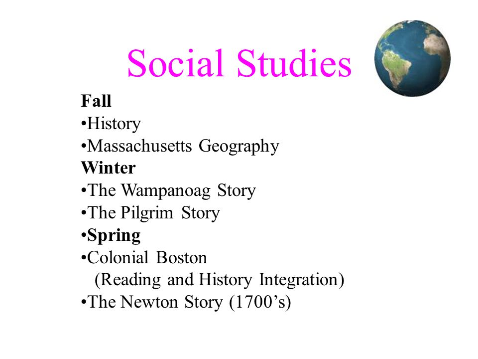 Social Studies Fall History Massachusetts Geography Winter The Wampanoag Story The Pilgrim Story Spring Colonial Boston (Reading and History Integrati