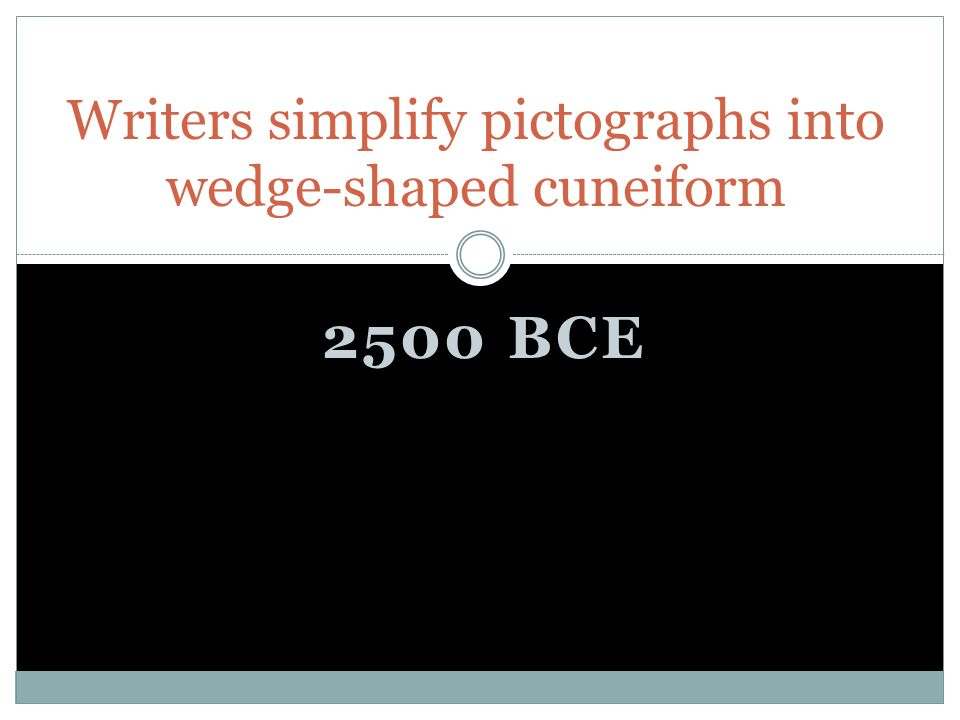2500 BCE Writers simplify pictographs into wedge-shaped cuneiform