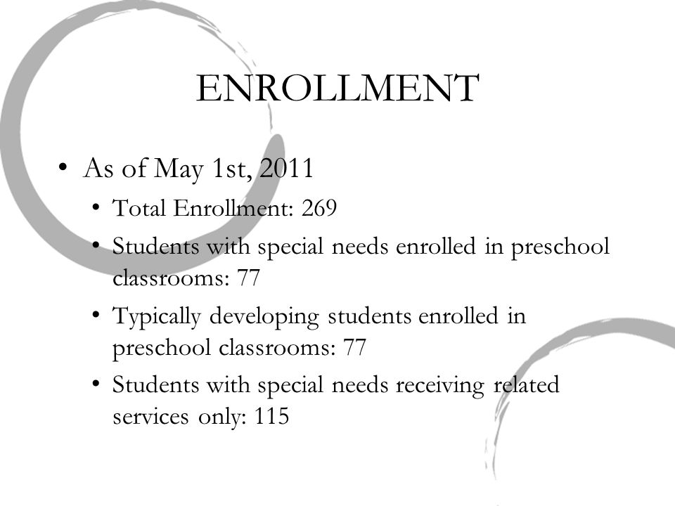 ENROLLMENT As of May 1st, 2011 Total Enrollment: 269 Students with special needs enrolled in preschool classrooms: 77 Typically developing students en