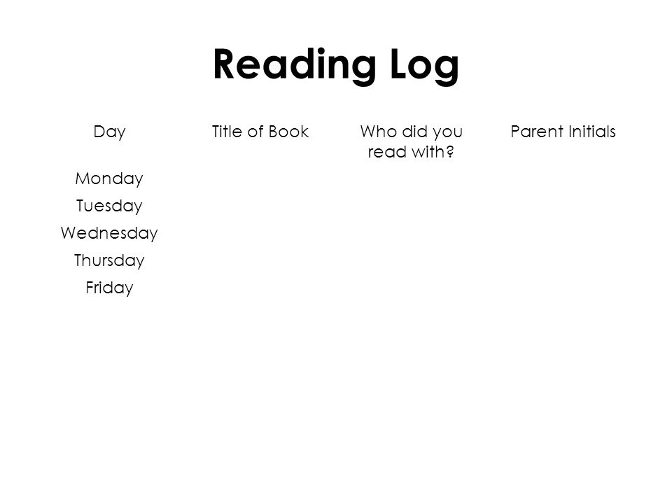 Reading Log DayTitle of BookWho did you read with.