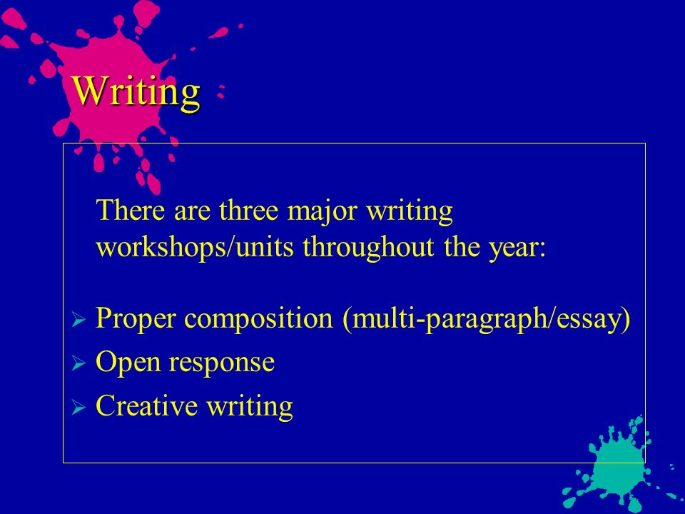 Writing There are three major writing workshops/units throughout the year: Proper composition (multi-paragraph/essay) Open response Creative writing