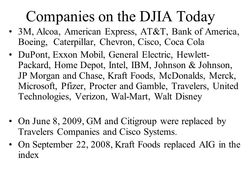 Companies on the DJIA Today 3M, Alcoa, American Express, AT&T, Bank of America, Boeing, Caterpillar, Chevron, Cisco, Coca Cola DuPont, Exxon Mobil, Ge