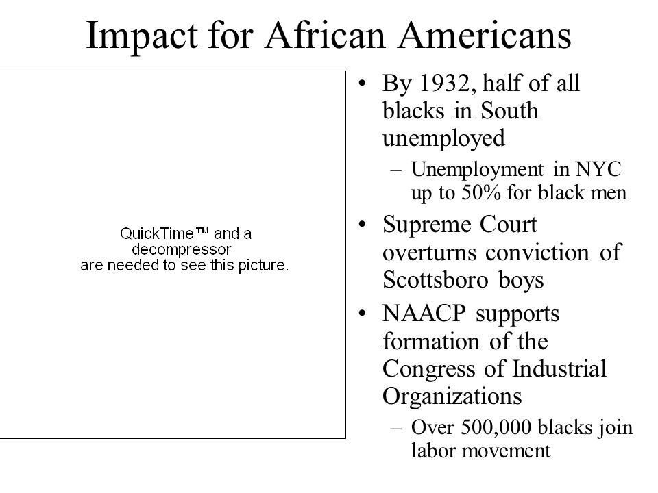 Impact for African Americans By 1932, half of all blacks in South unemployed –Unemployment in NYC up to 50% for black men Supreme Court overturns conv