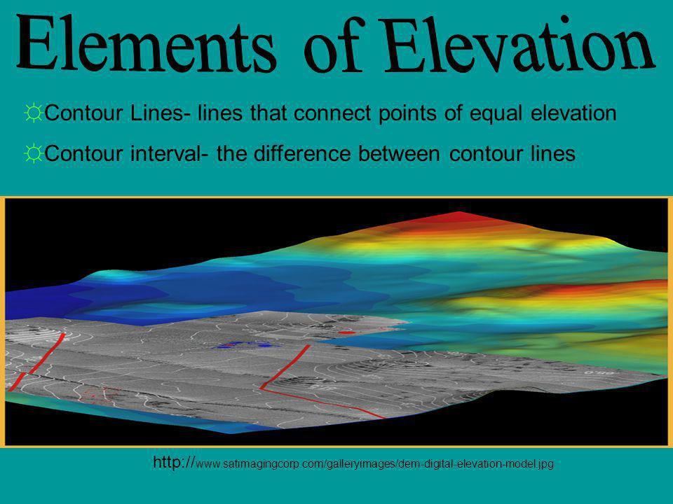 http:// www.satimagingcorp.com/galleryimages/dem-digital-elevation-model.jpg Contour Lines- lines that connect points of equal elevation Contour inter