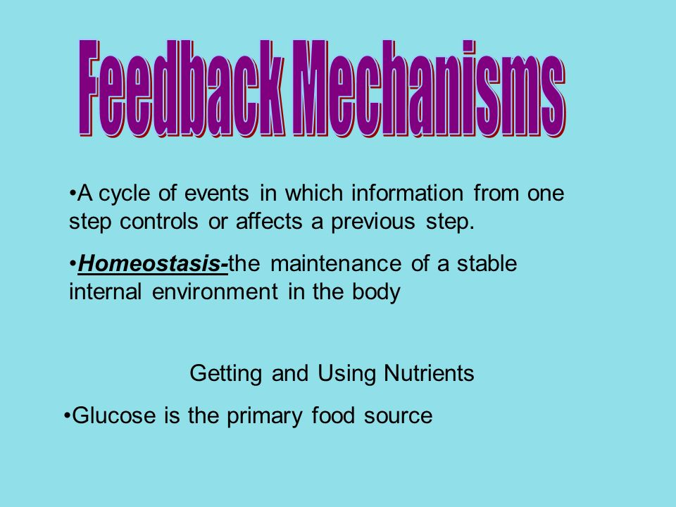A cycle of events in which information from one step controls or affects a previous step. Homeostasis-the maintenance of a stable internal environment