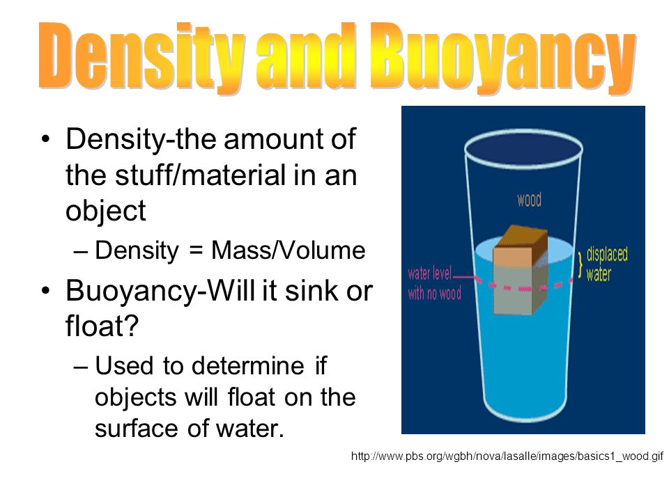 Density-the amount of the stuff/material in an object –Density = Mass/Volume Buoyancy-Will it sink or float? –Used to determine if objects will float