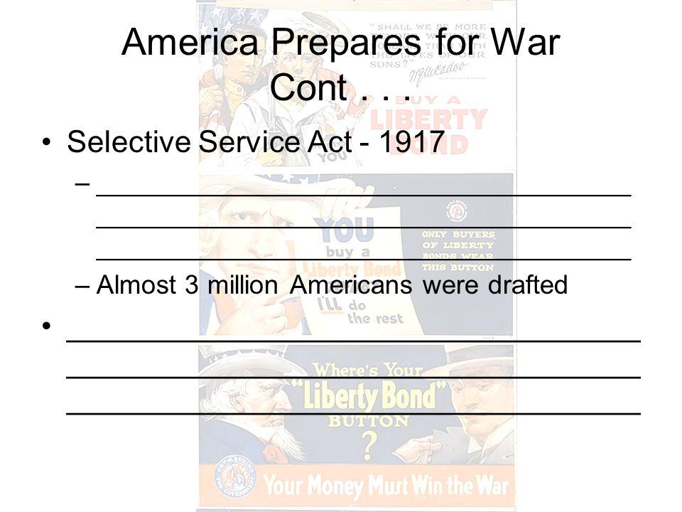 America Prepares for War Cont...