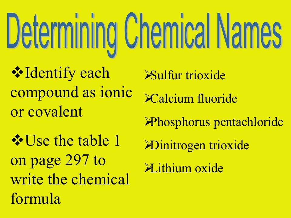 Identify each compound as ionic or covalent Use the table 1 on page 297 to write the chemical formula Sulfur trioxide Calcium fluoride Phosphorus pent
