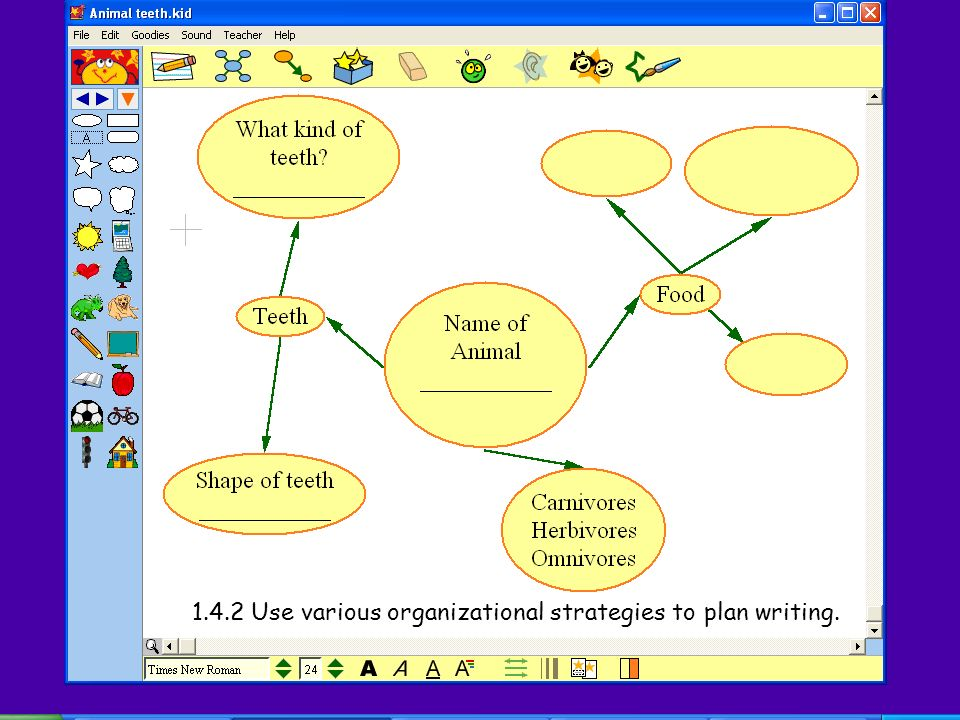 1.4.2 Use various organizational strategies to plan writing.
