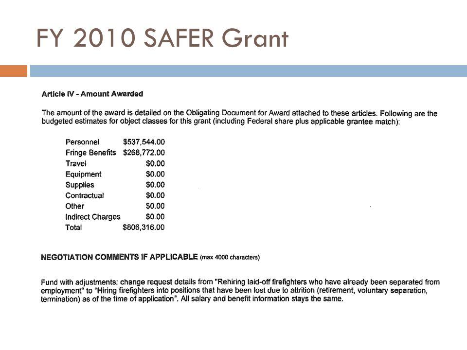 FY 2010 SAFER Grant
