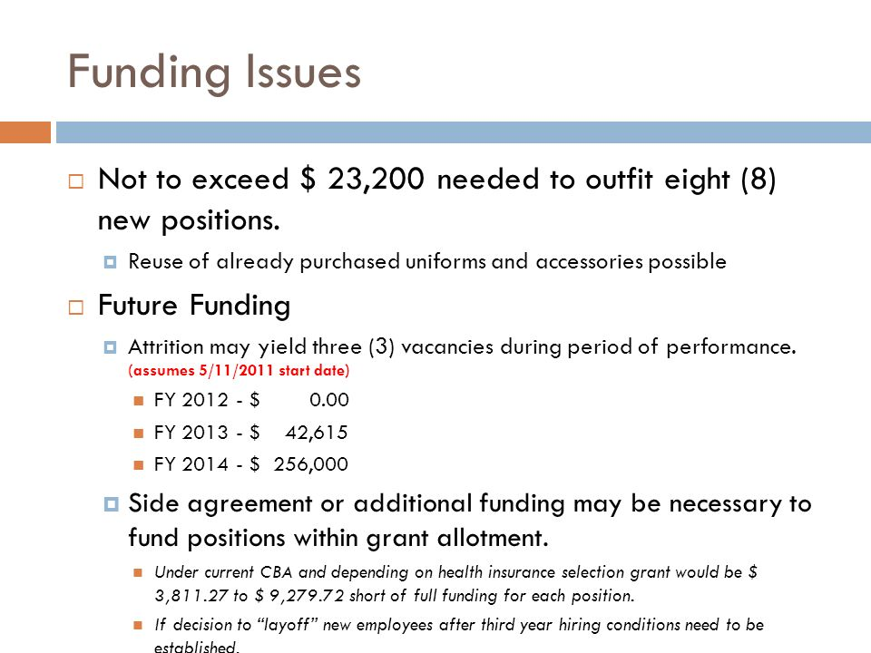 Funding Issues Not to exceed $ 23,200 needed to outfit eight (8) new positions. Reuse of already purchased uniforms and accessories possible Future Fu