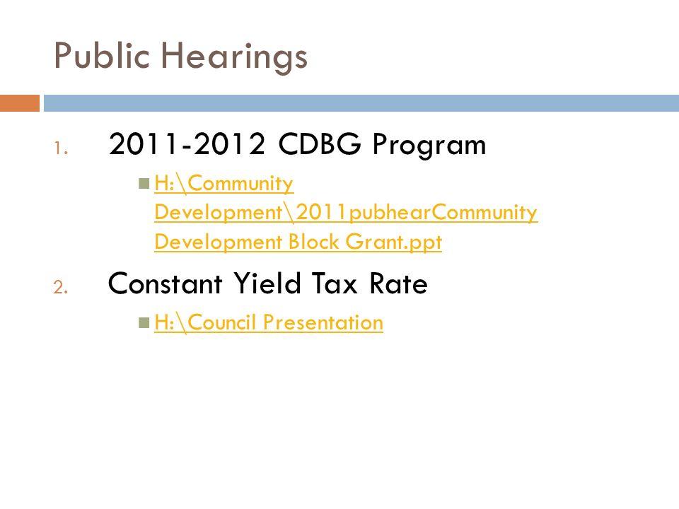 Public Hearings 1.