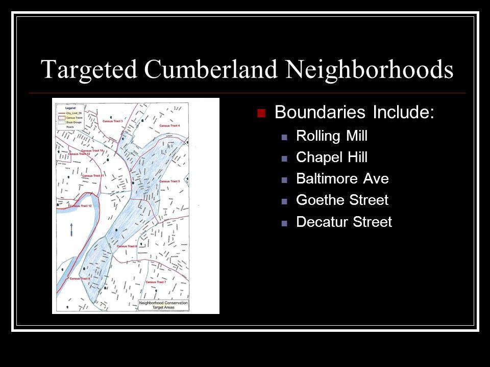 Targeted Cumberland Neighborhoods Boundaries Include: Rolling Mill Chapel Hill Baltimore Ave Goethe Street Decatur Street