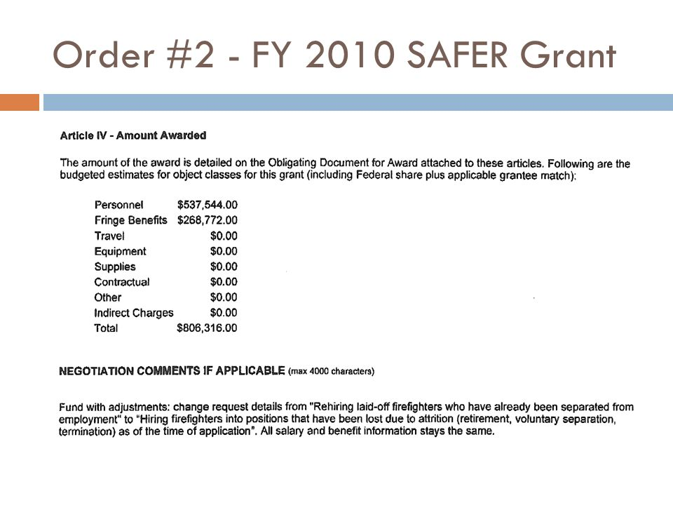 Order #2 - FY 2010 SAFER Grant